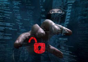 dangerous hacker stealing data -concept